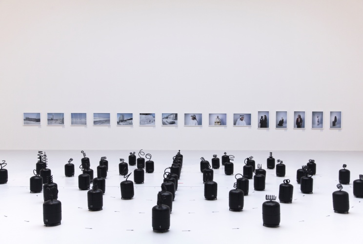 @ Sara Al Obaidly / Installation view: from the series , Qatar: Old Hearts, New World