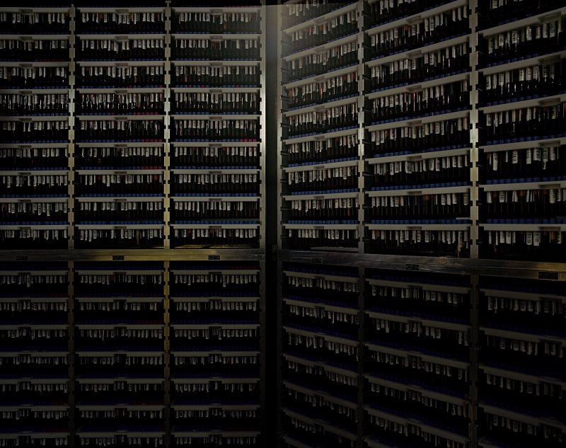 © Yann Mingard / DEPOSIT - deCODE genetics, Reykjavik, Iceland, 2013. Basement, where 500 000 pipettes of blood are stored at -25°C.