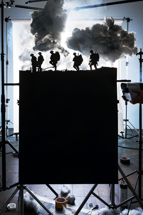 """© Cortis & Sonderegger, Making of """"Five Soldiers Silhouette at the Battle of Broodseinde"""" (by Ernest Brooks, 1917), 2013"""