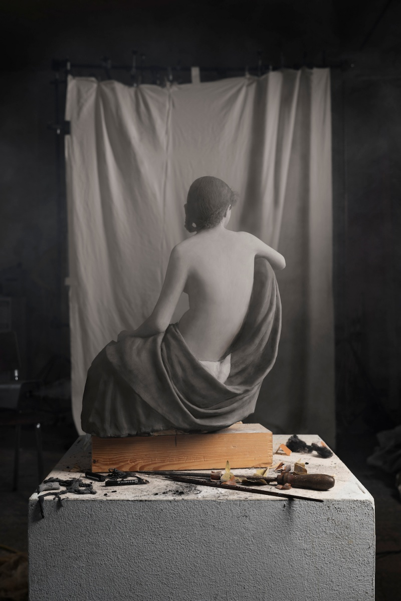 """© Cortis & Sonderegger, Making of """"Seated Female Nude"""" (by Eugène Durieu and Eugène Delaxcroix, 1854), 2017"""